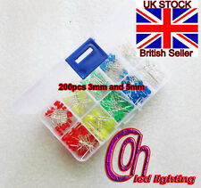200PC KIT 3MM 5MM Led Kit With Box Mixed Color Red Green Yellow Blue and White