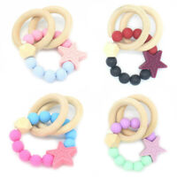 Wood Teething Ring Teether ChewY Silicone Beads Rattle Baby Sensory Toy Bracelet