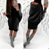 Women's Ladies Long Sleeve Jumper Dress Loose Casual Party Mini Dress Plus Size