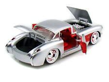 JADA BIGTIME MUSLCE 1957 CORVETTE SILVER 1/24 DIECAST CAR NEW IN BOX/ RARE ITEM