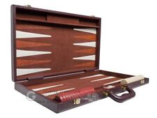 """**HOT BUY** Brand New """"Imperfect"""" Deluxe 21"""" Brown Leatherette Backgammon Set"""
