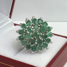 Solid .925 Silver Flower Cluster Ring, Natural Emerald. Size 6.5. 8.23 Grams