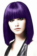5I Purple Cosplay Wig with Flat Bangs Short Straight Hair Wigs Heat Resistant Sy