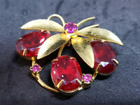 Antique Vintage Costume Jewelry Brooch/Pin - Gold Tone Flower w/ Red Rhinestones