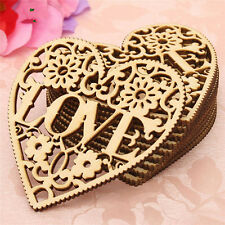 Cute 10pcs Laser Cut Wood Heart Unfinished Wooden Craft Embellishments Wedding