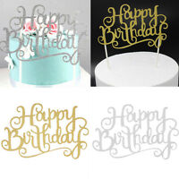 2pcs Happy Birthday Candle Party Cake Topper SuppliesDecoration GOLD/SILVER