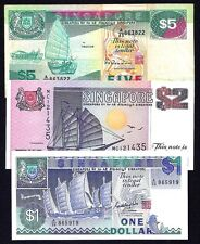 Singapore SET 1+2+5  Dollars  P-18+34+35  1987 + 1997