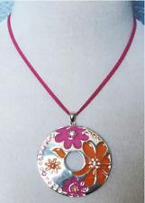 "Lia Sophia FLOWER POWER Large Pink & Orange Pendant Crystals 16-19"" Necklace"