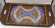 New ListingAntique Iridescent Blue Butterfly Wing Tray Decor Wood Inlaid Border 18.5 X 11