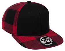NEW FLANNEL LUMBERJACK SNAPBACK HAT black red cap wool adjustable winter
