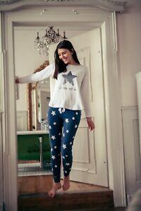 "LOUIS & LOUISA  "" Sternenzeit "" Pyjama antrazit Stern Glitzer Gr. XS - XL NEU"