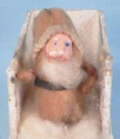 Santa Claus & Sleigh Christmas Decoration Plaster Cotton Cardboard Vintage #3