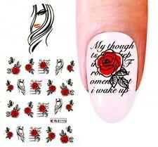 J450 NAGELSTICKER Frau LADY Rosen Spruch Aufkleber Fingernagel Nagel Nail Art