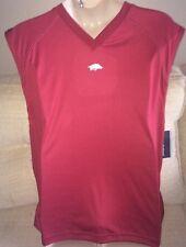 PRO EDGE Mens Size L Sleeveless ARKANSAS RAZORBACKS V-Neck Shirt - GO HAWGS! NEW