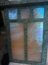 Beautiful 1 Light Pathway Light Bronze Patina w/Iridescent Gold Stained Shade
