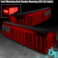 1987-1993 Ford Mustang Red Smoked LED Tail Brake Lights Lamps Left+Right  Pair