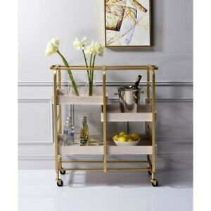 serving cart with wheels VIRRIK 34' x 17' x 38' H GOLD & WHITE WASHED FINISH