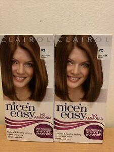 2x CLAIROL NICE`N EASY NO AMMONIA LIGHT WARM BROWN 92