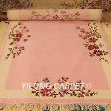 YILONG 4'x6' Pink Hand Woven Wool Carpet Chinese Art Deco Warm handmade Area Rug
