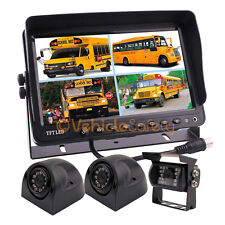 """9"""" Quad Monitor System CCD Color Rear View Backup Camera Kit for Bus Caravan RV"""