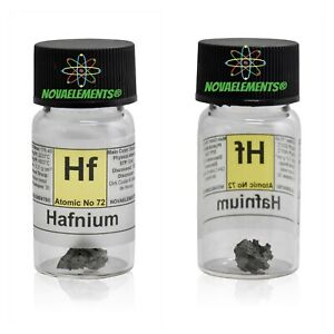 Hafnium Metal HF Element 72 Sample Grey ≅ 1 Gram 99.9% IN Labeled Glass Vial