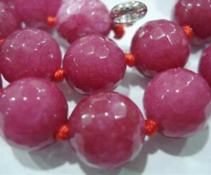 Natural 10mm Faceted Rose Ruby Round Gemstone Beads Necklace 18'' AAA
