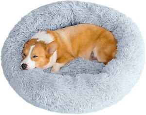 Pet Calming Bed Dog Cat Comfy Shaggy Fluffy Bed Donut Round Nest Plush Pad UK