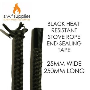 Heat Resistant Self Adhesive Fire Stove Rope End Sealing Tape 25mm x 250mm B&W