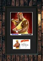 (#225)  hulk hogan wrestling   signed a4 photo//framed (reprint) great gift