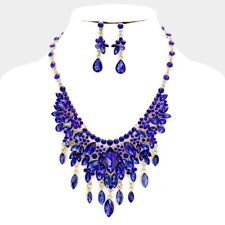 LUXE Statement Gold Sapphire Blue Crystal Cocktail Necklace Set Rocks Boutique