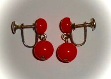 VINTAGE - DANGLING BRIGHT ORANGE/CORAL LUCITE BALLS - SCREW-ON EARRINGS