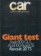 Renault 20 TS Automatic Road Test 1979 UK Market Brochure Car Audi 100 Saab 900
