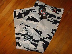 NFL OAKLAND RAIDERS Camo Cargo FLEECE Lined Pants Size 34W X 30L Men's