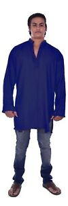 Indian Men's Art. Silk Poly Tunic Kurta Shirt Plus Size Solid Plain Blue Color