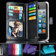 Heavy Duty PU Leather Wallet Case Magnet Cover Skin For iPhone 4 4S Card slots