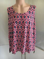 New $54 Jones New York Sleeveless Top Red, White, Navy blue 3X Tank Cotton blend