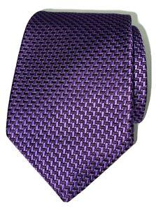 Isaia Napoli Tie Signed Purple Geometric Fold 7-Fold Silk Tie made in Italy