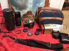 Canon AE-1 Program 35mm Film Camera KIT w/ Canon FD 50mm 1:1.8 &100-200 & More