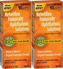 Akorn KETOTIFEN Solution ITCHY WATERY ALLERGY EYES 5mL HUMAN / ANIMAL ( 2 pack )