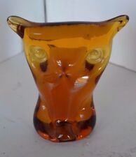 """Vintage Viking Hand Made 4"""" Amber Glass Owl Paperweight Figure"""