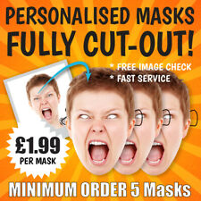 57 x Personalised Photo Face Masks Kits Birthday Party Fancy Dress Stag Hen