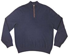 Bloomingdales Mens Cashmere 1/2 Zip Sweater Suede Placket Navy Blue XL