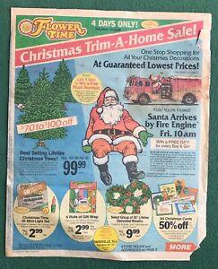 FLOWER TIME store sales flier 1980s Christmas SALE Santa Claus Trim a Tree