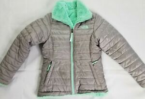 The North Face Gray Reversible Quilted Jacket Youth Girls Medium Green Fur Coat