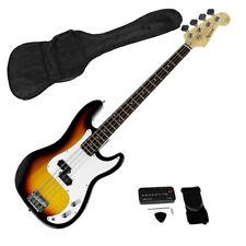 Karrera Sunburst Electric Bass Guitar Electronic Tuner Stand Strap Bag