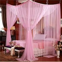 White 4 Corner Post Bed Canopy Mosquito Net For Queen Size Netting Bedding MECO