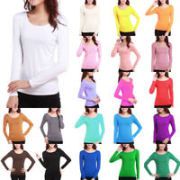 Women Long Sleeve Stretch Plain Scoop Neck T-shirt Top Ladies Slim Fit Tee Shirt