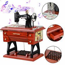 Mini Vintage Music Box Sewing Machine Style Mechanical Table Decor Birthday Gift