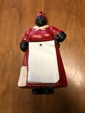 New ListingVintage Cast Iron Black Americana Aunt Jemima Notepad Pencil Holder Wall Plaque