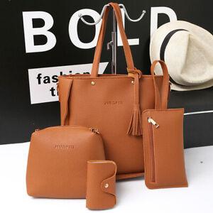 Ladies Handbag Shoulder Messenger Bag Satchel Tote Purse PU Leather Bags 4pc/set